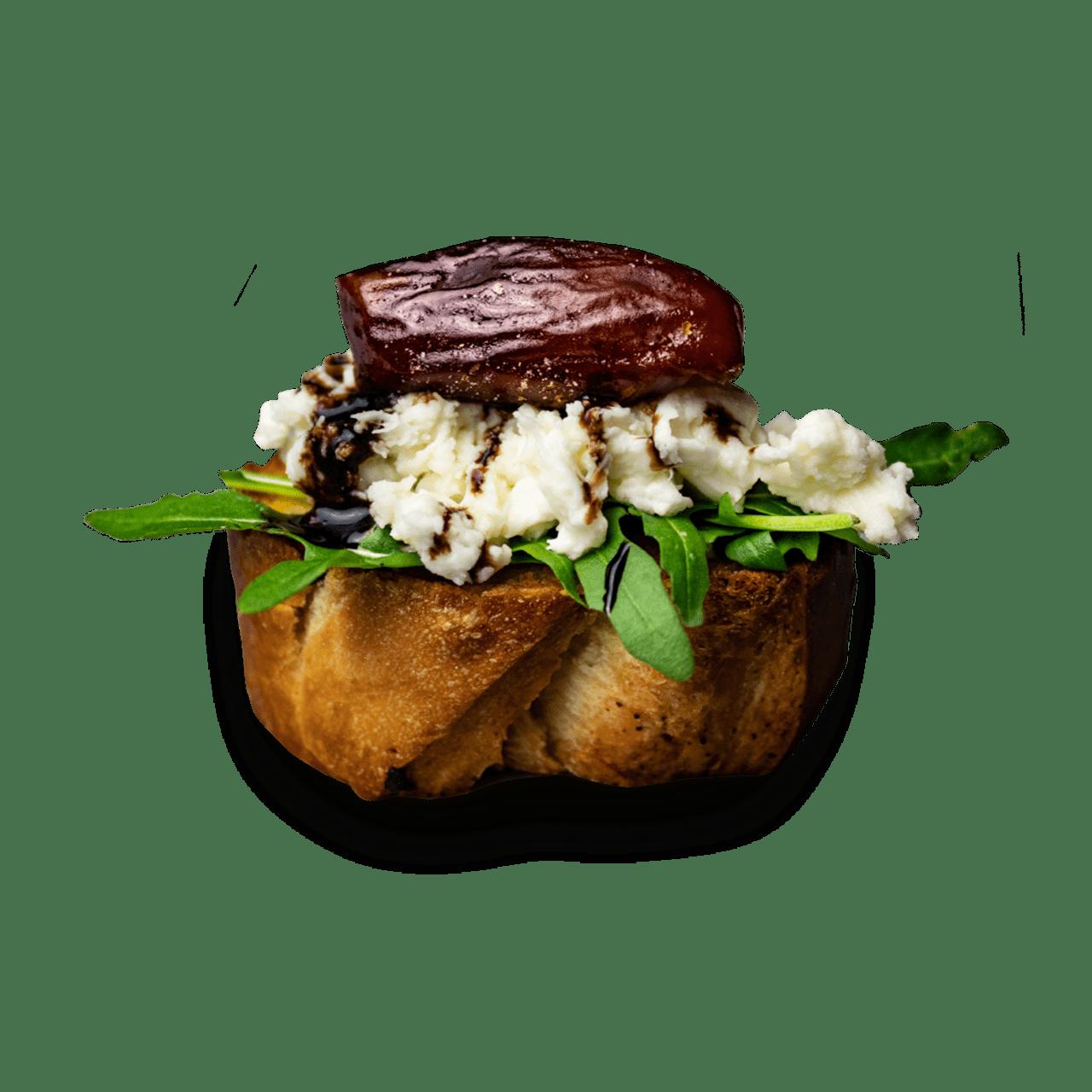 tostibanaan-bruschetta-dadel-mozzarella-rucola